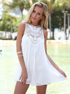 Chiffon Summer Dress Women Short Dress Lace Round Neck Sleeveless Boho Dress