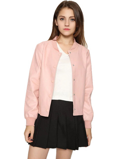 Women Bomber Jacket Long Sleeve Stand Collar Short Jacket