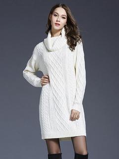 Women Sweater Dress Turtleneck Long Sleeve Cotton Dark Navy Knitted Dress
