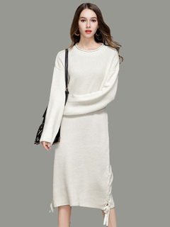 White Knit Dress Women Sweater Dress Round Neck Long Sleeve Lace Up Long Dress