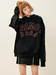 Black Pullover Hoodie Top Long Sleeve Boyfriend Words Printed Sweatshirt