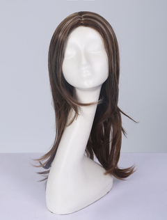 Women Wig Brown Highlight Central Parting Long Strand Wig