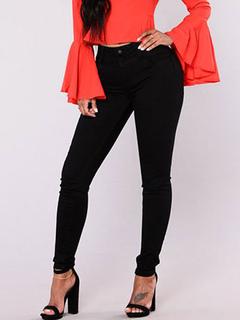 Black Skinny Jeans High Waisted Women Button Denim Pants