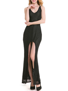 Black Lace Dress Maxi Party Dress Women Split V Neck Cross Back Long Dress