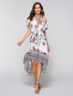 Boho Floral Dress Off Shoulder Women High Low Summer Dress