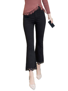 Black Flared Pants High Waisted Lace Patch Women Dress Pants