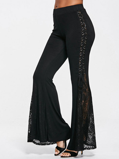 Black Flared Pants Lace Women Lace Up Bell Bottom Trousers