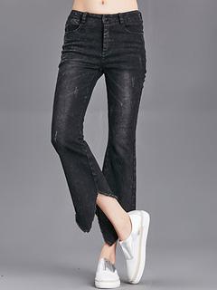 Women Skinny Jeans Black Cropped Irregular Bottom Denim Jeans
