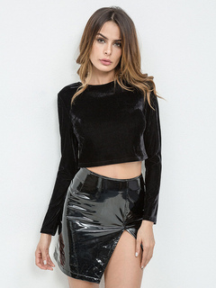 Women Crop Top Long Sleeve Backless Chains Velour Black Top