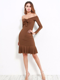 Women Bodycon Dress Brown Off The Shoulder Long Sleeve Bow Ruffle Slim Fit Sheath Dress