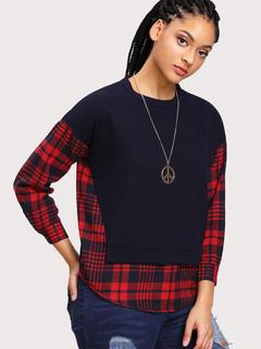 Plus Size Top Long Sleeve Plaid Patchwork Deep Blue Cotton Sweatshirt