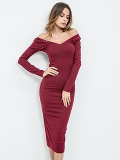Bodycon Dress Women Maxi Dress Off The Shoulder Burgundy Long Sleeve Slim Fit Sheath Dress