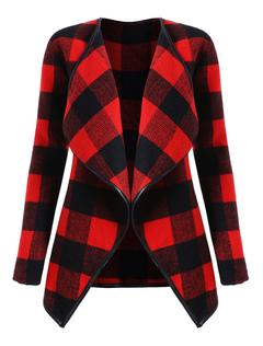 Women Plaid Coat Long Sleeve Piping Turndown Collar Winter Overcoat