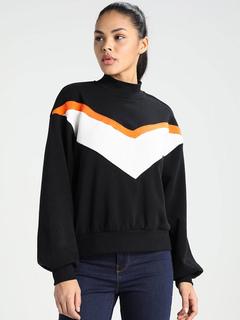 Women Black Pullover Long Sleeve Color Block Cotton Sweatshirt
