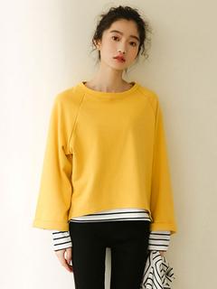 Women Yellow Sweatshirt Long Sleeve Striped Fake Two Piece Style Cotton Top