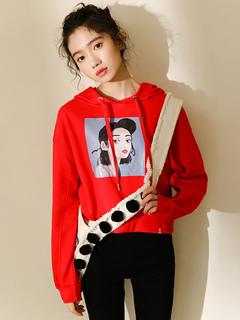 Women Red Hoodie Long Sleeve Printed Drawstring Short Pullover