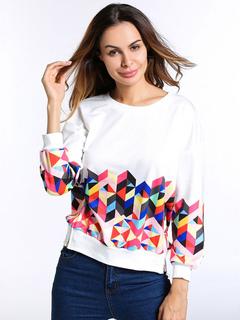 Women White Sweatshirt Long Sleeve Crewneck Geometric Printed Spring Pullover