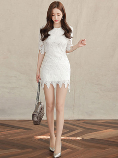 White Lace Dress Women Mini Dress Half Sleeve Short Party Dress