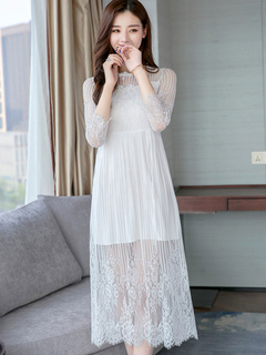 White Long Dress Lace Women Sheer Three Quarter Sleeve Spring Dress