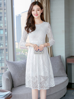 White Lace Dress Women Spring Dress Three Quarter Sleeve Midi Dress