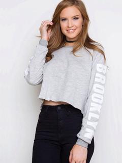 Women Short Sweatshirt Long Sleeve Cropped Letters Printed Grey Pullover