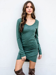 T Shirt Dress Long Sleeve Women Atrovirens Ruched Cotton Bodycon Spring Dress