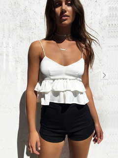 White Peplum Camis Women Cotton Ruffle Layered Sexy Summer Top