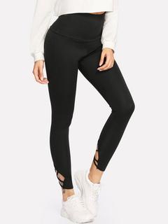Black Gym Leggings Women Tie Detail Elastic Waist Skinny Leggings
