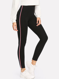 Women Black Leggings Skinny Workout Elastic Waist Gym Leggings
