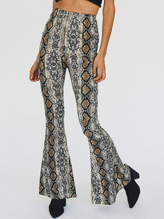 Women Flared Pants Snake Print Bell High Waisted Trousers