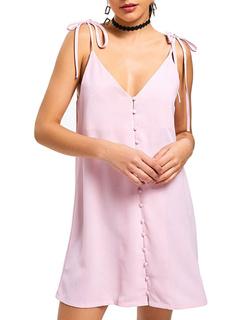 Pink Summer Dress Button Straps Short Slip Dress For Women