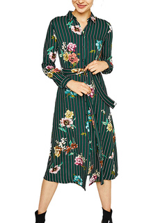 Green Shirt Dress Women Long Sleeve Stripes Floral Printed Cotton Maxi Dress