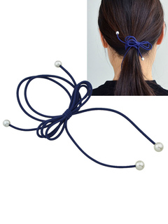 Dark Navy Hair Tie Pearls Bow Hair Band For Women