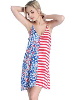 Women Summer Dress Stars Striped Printed Backless Spaghetti Straps Cotton Dress