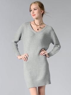 Women Knitted Dress V Neck Long Sleeve Sweater Dress Grey Cotton Midi Dress