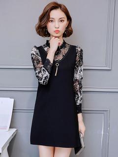 Women Black Dress Oversized Lace Fake Two Piece Mini Dress