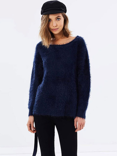 Women Pullover Sweater Lace Up Long Sleeve Round Neck Dark Navy Knitted Top