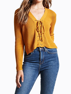 Women Knit Sweater Lace Up Long Sleeve V Neck Light Tan Top