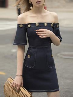 Short Bodycon Dress Women Deep Blue Off The Shoulder Half Sleeve Buttons Detail Slim Fit Sheath Dress