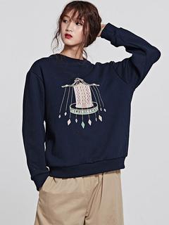 Women Casual Sweatshirt Long Sleeve Crewneck Printed Deep Blue Top