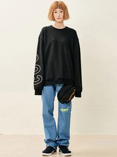 Women Black Sweatshirt Boyfriend Letter Printed Oversized Top
