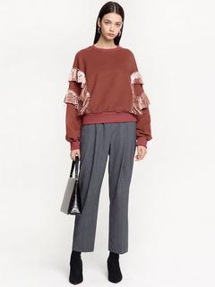 Women Casual Top Long Sleeve Ruffles Brown Sweatshirt
