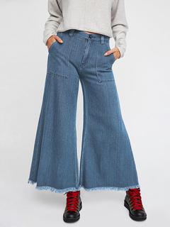 Women Denim Jeans Blue Zipper Fly Wide Leg Pants