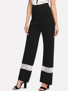 Women Black Pants High Waist Lace Patchwork Flared Trousers