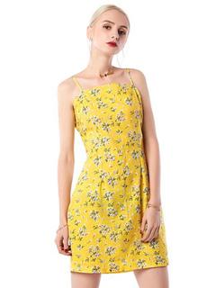 Floral Summer Dress Sleeveless Spaghetti Straps Backless Yellow Cotton Dress