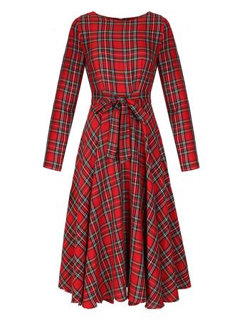 Women Spring Dress Long Sleeve Plaid Round Neck True Red Midi Dress