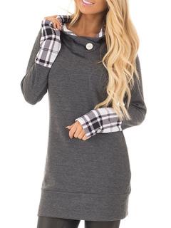 Women Spring Hoodie Long Sleeve Plaid Patchwork Grey Top