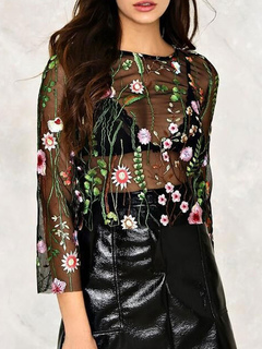 Black Sexy Top Embroidered Tulle Sheer 3/4 Length Sleeve Women Blouse
