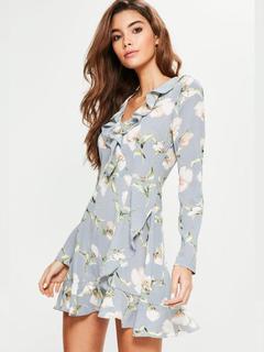 Floral Mini Dress Women Long Sleeve Frill Hem V Neck Summer Dress