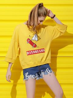 Women Cotton Hoodie Letter Print Convertible Multi Way Spring Yellow Sweatshirt